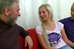 blonde girl fucked by old man when her boyfriend