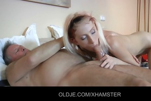old pervert dude gets ridden by a young hotel maid