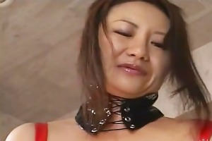concupiscent japanese milf in red latex with a