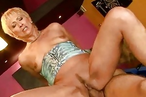 sexy granny engulfing and riding big young cock
