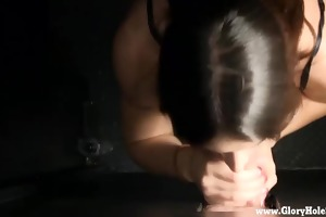 sweet young girl goes to a gloryhole to give