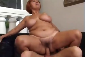 mature woman engulf and fucks younger guy