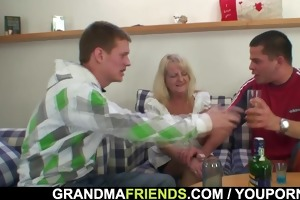 partying boyz lure granny into some