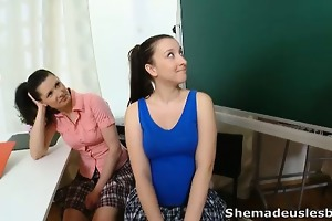 simona and her sexy classmate are waiting in the