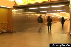 mature fattie in the metro