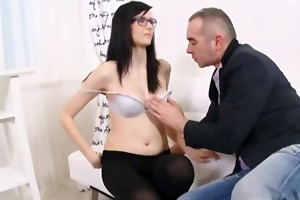 cute czech student in glasses having sex with her
