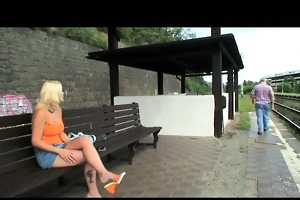 old dude blackmails cute golden-haired doxy for