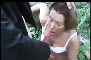 french grannie hard sex with young stud in woods