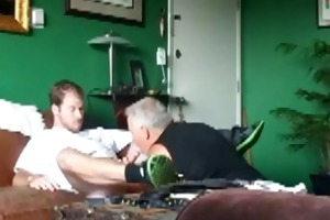 youthful man comes over to have dad engulf him off