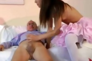 old guy bonks sexy stocking younger girl