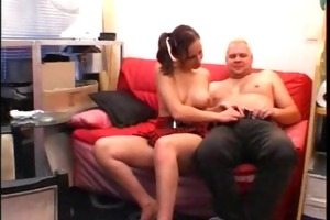 youthful girlfriend sucks and bonks an old lad