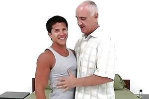 young tanned gay boy bangs with mature gay in