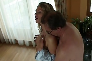 busty golden-haired drilled by old repair stud
