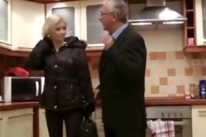 blond does striptease for old man