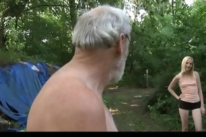two slutty nubiles is fucking the old woodcutter