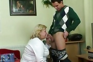 chubby granny sucks young pounder befo...