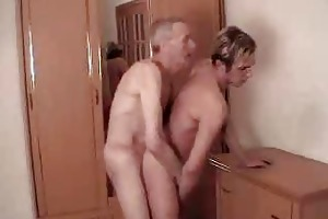 old man bangs him from behind then gives head
