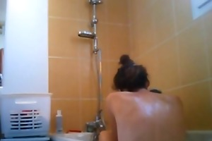 hidden camera below my sisters shower