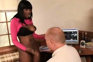 ebony secretary gives blowjob