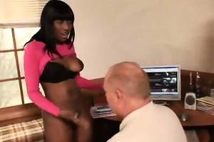 ebony secretary gives blowjob