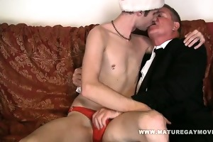 corpulent daddy gets fuck by his son on christmas
