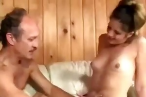 sexually excited girl sucks old guy