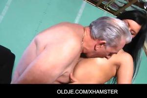 old man gets sex with juvenile brunette hair