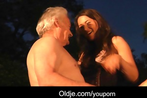 lucky older man fucks with two hot cuties