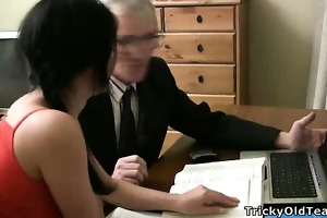 gorgeous young student seduced by an old fart