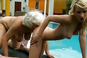 horny busty granny copulates juvenile blonde