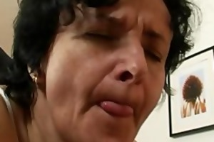 granny acquires her unshaved gap filled with two