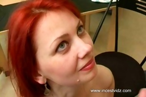 youthful son fucking his gal mommy in kitchen