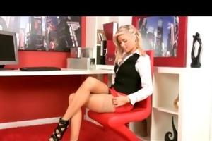 horny hawt youthful blond intern rubs her wet