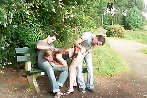 legal age teenager three-some public sex in