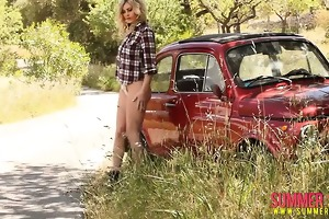 summer strips from her plaid shirt down by the