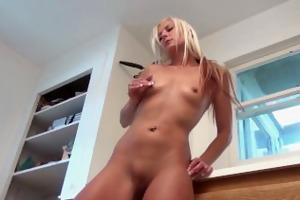 hot blond cougar elizabeth masturbates in the