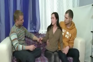 admirable gangbang with legal age teenager gal