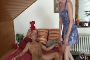 she helps her son-in-law cum and receives busted