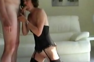 hot older wife gives blowjob and masturbates