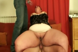 chunky aged bitch swallows jocks