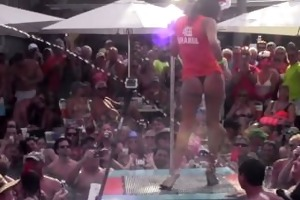dantes pool wet tshirt pole contest during