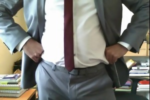daddy jacks off in suit