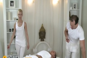 orgasms young cutie has two powerful guys massage