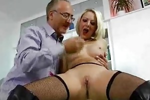 excited blonde in nylons and old fellow