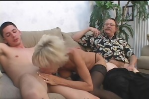 aged pair in 3some sex game