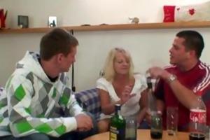 drunk blond granny in hot trio orgy
