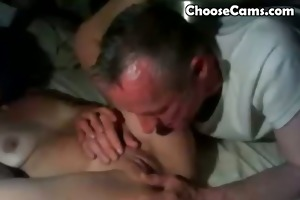 old man giving grandma oral-stimulation