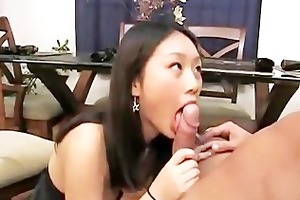 slutty youthful asian abe engulfing schlong and