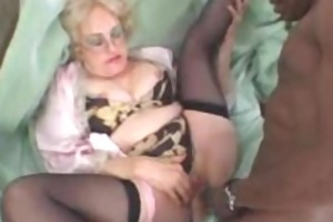 lascivious old blond takes big black knob