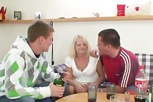 drunk golden-haired granny in sexy some orgy